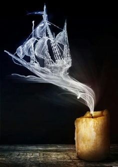 Ghost ship from candle