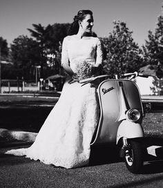 Vespa Bride: Must Be 1953 or so