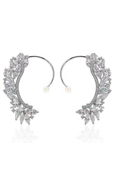 crystal and pearl earcuffs