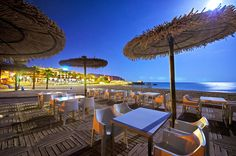 Terrace from the restaurant El Castillo op on the beach l´Ampolla in Moraira. In summertime open until late night.
