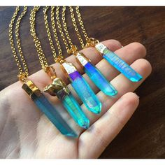 Aqua Angel Aura Quartz Gold Dipped Necklace Rough Clear Raw Point... ($20) ❤ liked on Polyvore featuring jewelry, necklaces, crystal chain necklace, teal necklace, layered chain necklace, rainbow necklace and clear quartz necklace