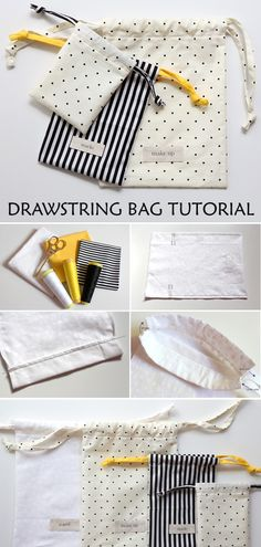 Diy Drawstring Bag Tutorial & Pattern - - This is total beginner stuff but with the right fabrics you can make bags in any colour and to match anything. Small Sewing Projects, Sewing Projects For Beginners, Knitting For Beginners, Sewing Tutorials, Start Knitting, Easy Knitting, Art Tutorials, Tutorial Sewing, Crafty Projects
