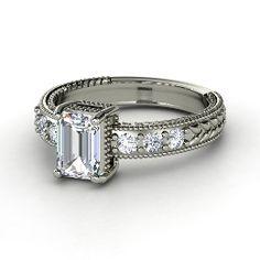 Emerald Isle Ring, Emerald-Cut Diamond White Gold Ring from Gemvara