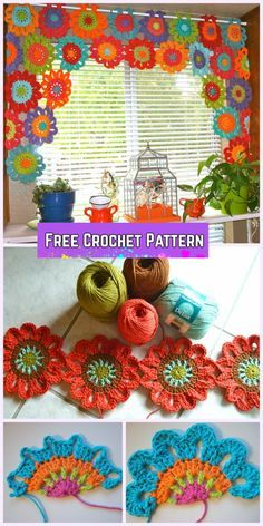 Crochet Flower Valance Curtain Free Pattern