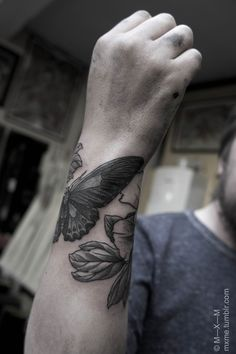 moth and flower by m-x-m #wrist #tattoos