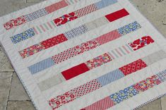 """""""Hello, Betty"""" Patchwork Quilt by Mia Dolce Originals;  made using the Hello, Betty fabric collection"""