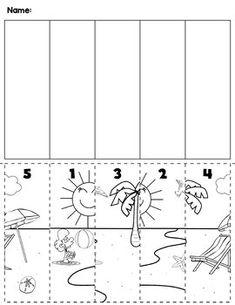 $1 | Summer beach scene cut and order for numbers 1-5. Package includes five no prep worksheets. #preschool #preschoolers #preschoolactivities #kindergarten #Homeschooling #mathcenters #beach #summer