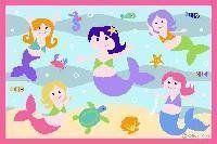 $67.95-$91.00 Baby Nursery Play Mat Mermaids 39x58 made of 100% Nylon