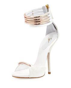 Love these shoes by GIUSEPPE ZANOTTI Leather Multi-Strap Sandal, White/Copper - $1113 (40%Off) #giuseppezanottiheelswhite