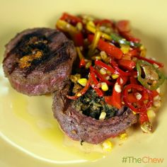 Grilled Steak with Charred Corn Pepper Salad by Mario Batali! #TheChew