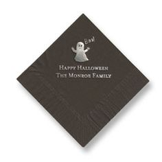 Ghost Foil-Pressed Napkins. Available in 15 foil colors stamped on your choice of 27 napkin colors. Create yours today at http://www.giftsin24.com/Ghost-Foil-Stamped-Napkins Ships in 24 hours. FREE FedEx ground shipping #napkins #party #halloween #MadeinAmerica