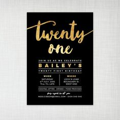 21st birthday party invitation gold foil effect by cartamodello More Debut Invitation, 21st Birthday Invitations