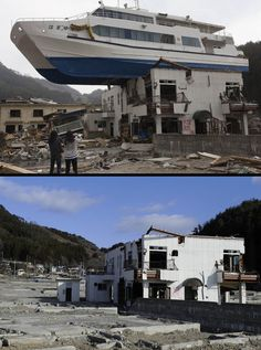 This combination of pictures shows a catamaran sightseeing boat washed by the tsunami onto a two-storey tourist home in Otsuchi, Iwate prefecture on April 16, 2011 (top) and the same area on January 16, 2012 (bottom).