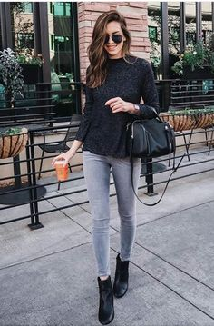 Ankle Boots Outfit Ideas Gallery how to wear outfits with guess black ankle boots chicisimo Ankle Boots Outfit Ideas. Here is Ankle Boots Outfit Ideas Gallery for you. Ankle Boots Outfit Ideas how to wear ankle boots for petites lake shore la. Casual Fall Outfits, Trendy Outfits, Cute Outfits, Fashion Outfits, Womens Fashion, Fashion Trends, Look Fashion, Autumn Fashion, Street Style