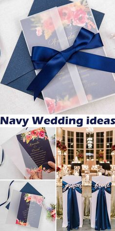 romantic navy blue and floral coral wedding invitation with vellum paper pocket SWPI092 #wedding#weddinginvitations#stylishwedd#stylishweddinvitations #vellumweddinginvitations