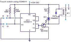 Touch switch using IC CD4011   A simple touch switch circuit using CD4011 is given here. The IC CD4011 is wires as a flip flop here. The 9 13 pins of the IC works as the set and reset contacts respectively.CMOS ICs like 4011 require requires a very low current for controlling its gates. Since the pins 9 and 13 are connected to the positive via resistors R1 and R2 the logic gates of the ICs will be in high state. When we touch through the points A B the gates of the IC will be closed and the…