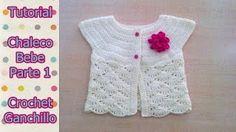 DIY Como tejer chaleco bolero para bebe niña con flor a crochet, ganchillo - YouTube