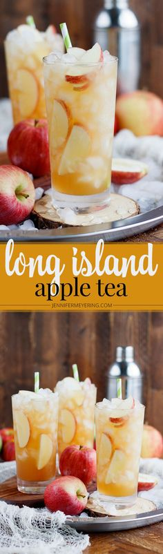 Long Island Apple Iced Tea - 1 oz triple sec 1 oz light rum 1 oz gin 1 oz apple vodka 4 oz apple cider 2 oz lemon-lime soda Alcoholic Drinks Vodka, Party Drinks Alcohol, Fun Drinks, Yummy Drinks, Holiday Cocktails, Beverages, Yummy Food, Easy Drink Recipes, Tea Recipes