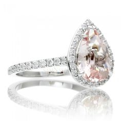 Pear Morganite Diamond Halo Engagement Ring