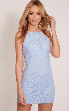 Elora Dusty Blue Cross Back Lace Mini Dress