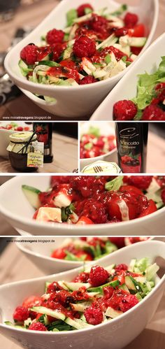 raspberry on salat // Himbeeren auf Salat