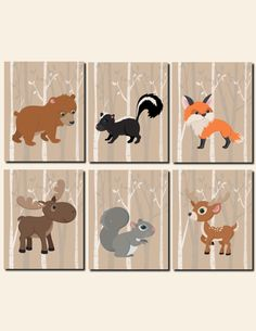 Woodland Animals Nursery Decor Baby Boy Wall Art Kids Room Wall Art Moose Bear Fox Deer Squirrel Skunk Set of 6 Prints or Canvas by vtdesigns on Etsy