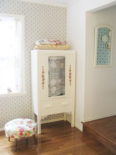 ♥ vintage cabinet from Tif's (Dottie Angel) home. I'd love to stumble upon a cupboard like this.