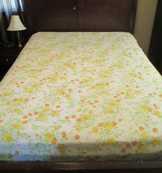 Blue flower sheet vintage blue floral sheets sears roebuck sheet yellow flower sheets vintage floral sheet set orange pink floral bedding twin sheet set marigold daisy sheets flat sheet fitted sheet mightylinksfo Image collections