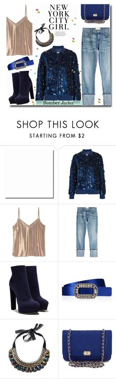 """Bomber Jacket!"" by prettynposh2 ❤ liked on Polyvore featuring Ashish, A Day in a Life, Current/Elliott, Casadei, Roger Vivier, ASOS, Chanel and bomber"