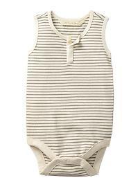 Organic henley stripe bodysuit