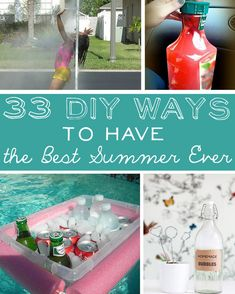 33 DIY Ways To Have The Best Summer Ever - floating drink cooler, noodle lightsaber, sneaky cocktail in juice bottle, proper sunscreen application + sunburn tips, pvc sprayer, diy slip and slide, vodka gummy bears, sand removal w/ baby powder, dixie cup popsicle mold, spongeball water fight, sheet hammock, window screen bag, bag into beach towel, diy kite, pvc water gun, diy ocean spray