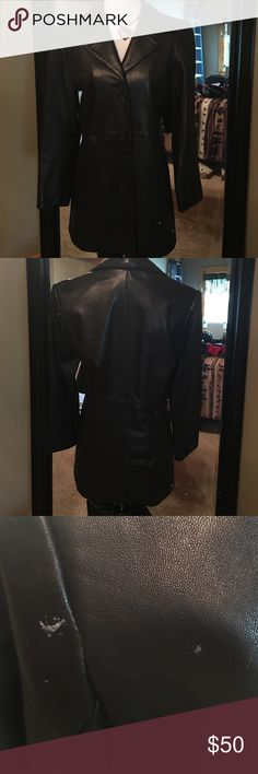 Genuine leather mid length jacket Genuine leather black mid length jacket. 3 button front. Small scuff on left shoulder shown in pic 3. Priced accordingly. Size small petite Alfani Jackets & Coats