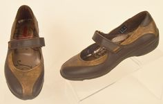 ECCO womens Bronze & Brown Leather Mary Jane Velcro Strap slip on loafers 37 6.5 #ECCO #MaryJanes