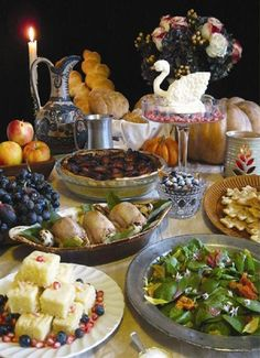 This feast, inspired by food from the Middle Ages, includes, from left, Lemon Cakes, Quails Drowned in Butter, a Beef and Bacon Pie, a Cream Swan, Spiced Honey Biscuits and a Medieval Salad. http://www.wsj.com/articles/SB10001424052970203833104577072081640023086