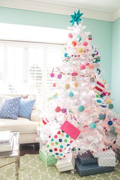Holiday Home Tour Pt Candy Color Tree - Pencil Shavings Studio Colorful Christmas tree; white Christmas tree with colorful ornaments www. Types Of Christmas Trees, White Christmas Trees, Whimsical Christmas, Christmas Tree Themes, Outdoor Christmas, Christmas Holidays, Holiday Decor, Christmas Mantles, Silver Christmas