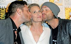 Comic-Con 2016: Celebs at the Biggest Day 4 Panels   Jensen Ackles, Samantha Smith and Jared Padalecki at the…