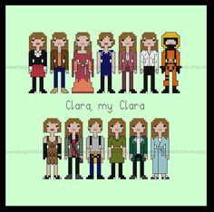"""""""Clara My Clara"""" One of the most notable features of companion Clara Oswald are her outfits and costumes. She has a definite style and flair that many cosplayers try to e... #crossstitch #embroidery #needlework #bbc #quick #dmc"""