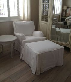 Quatrine slipcovered bedroom chair with matching ottoman - Patricia style.