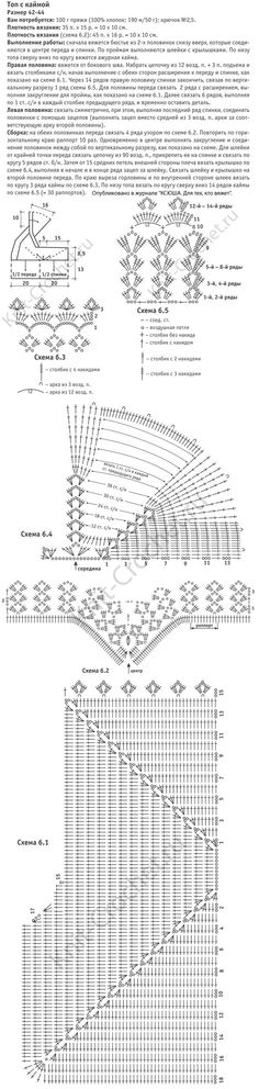 Выкройка, схемы узоров с описанием вязания крючком женского топа с каймой размера 42-44.