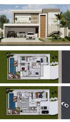4 Bedrooms Home Design - Home Plans - Modern House Floor Plans, Duplex House Plans, House Layout Plans, House Layouts, Bungalow House Design, Modern House Design, Home Decor Hooks, Architectural House Plans, Model House Plan