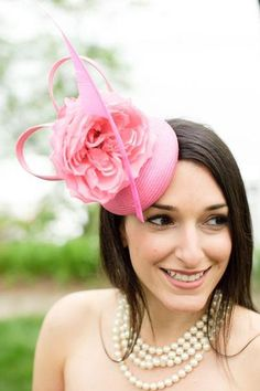 2014 hot pink cap bridal hair accessories, flower and feather hairpiece.
