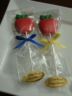 Milk Chocolate Red Apple Lollipop... Snow White Birthday Party Candy Favors www.rosebudchocolates.com