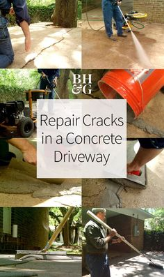 Though concrete is a durable surface, concrete driveways deteriorate and develop cracks over the years. Skip the expense of pouring a new slab and see how to repair and resurface cracked concrete with these tips. #crackedconcrete #diy #driveway