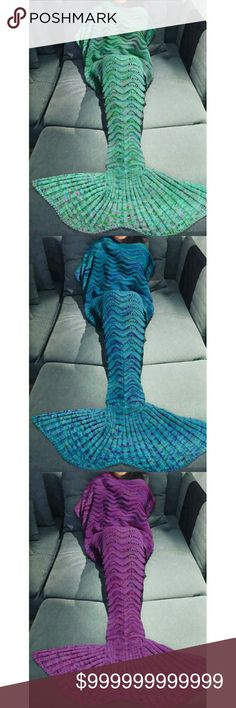 """COMING SOON! Mermaid tail knitted body wraps! Aqua, blue,  or purple knitted mermaid tail blankets that wrap you in comfort and style as you lounge on the couch! Your blanket will never slip off your feet again!   100% cozy cotton!    """"Like"""" this listing if you're interested in one when they arrive! Accessories Scarves & Wraps"""