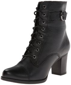 Amazon.com: Clarks Women's Jolissa Gypsum Boot: Black Leather Lace Up Boots: Clothing