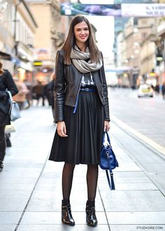 Stylish How to Stylize a Biker Jacket and Plush Midi Skirt with Ankle Boots, Business Look, Street Style by Style Zagreb Com, Marija Turkalj, Economis. Warm Outfits, Mode Outfits, Skirt Outfits, Casual Outfits, Fashion Outfits, Womens Fashion, Black Pleated Skirt Outfit, Midi Skirt, Winter Skirt Outfit