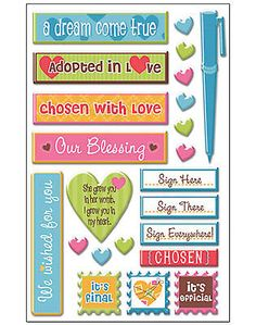 WE'RE ADOPTING! 3-D Epoxy Sticker Sheet scrapbooking CLOSE-OUT SALE!