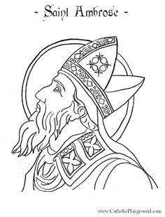 St Ambrose Catholic saint coloring page for children.  Feast day is December 7th.