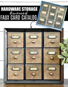 WOW, this makeover is awesome!  Learn how to make a faux card catalog from a hardware organizer. #cardcatalog #vintage #tutorial #diy #organize #organizing #vintagedecor