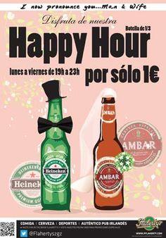 Flaherty's amplía su horario de la Happy Hour. De lunes a viernes desde las 19 horas y ahora hasta las 23:00 horas, Heineken o Ambar, sólo por 1 euro: Happy Hour (botella de 1/3).